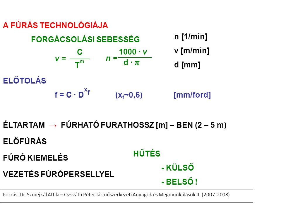 A FÚRÁS TECHNOLÓGIÁJA FORGÁCSOLÁSI SEBESSÉG v = C TmTm n = 1000 ∙ v d ∙ π n [1/min] v [m/min] d [mm] ELŐTOLÁS f = C ∙ D x f (x f ~0,6) [mm/ford] ÉLTAR