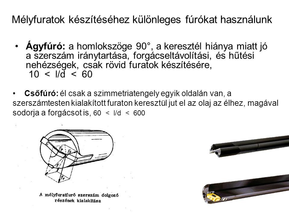 Mélyfuratok készítéséhez különleges fúrókat használunk Ágyfúró: a homlokszöge 90°, a keresztél hiánya miatt jó a szerszám iránytartása, forgácseltávol
