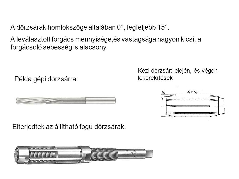 Elterjedtek az állítható fogú dörzsárak. Példa gépi dörzsárra: A dörzsárak homlokszöge általában 0°, legfeljebb 15°. A leválasztott forgács mennyisége