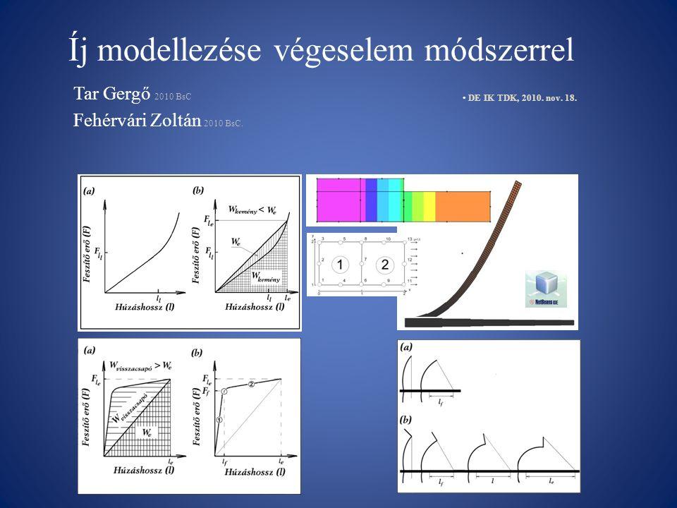 Íj modellezése végeselem módszerrel Tar Gergő 2010 BsC Fehérvári Zoltán 2010 BsC. DE IK TDK, 2010. nov. 18.