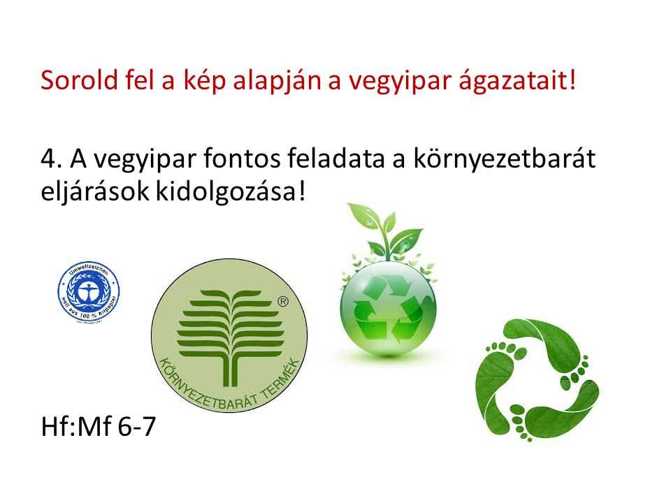 Sorold fel a kép alapján a vegyipar ágazatait. 4.