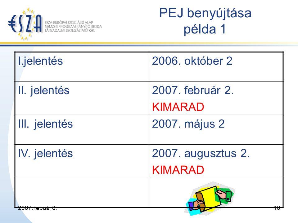2007. febuár 6.10 PEJ benyújtása példa 1 I.jelentés2006.
