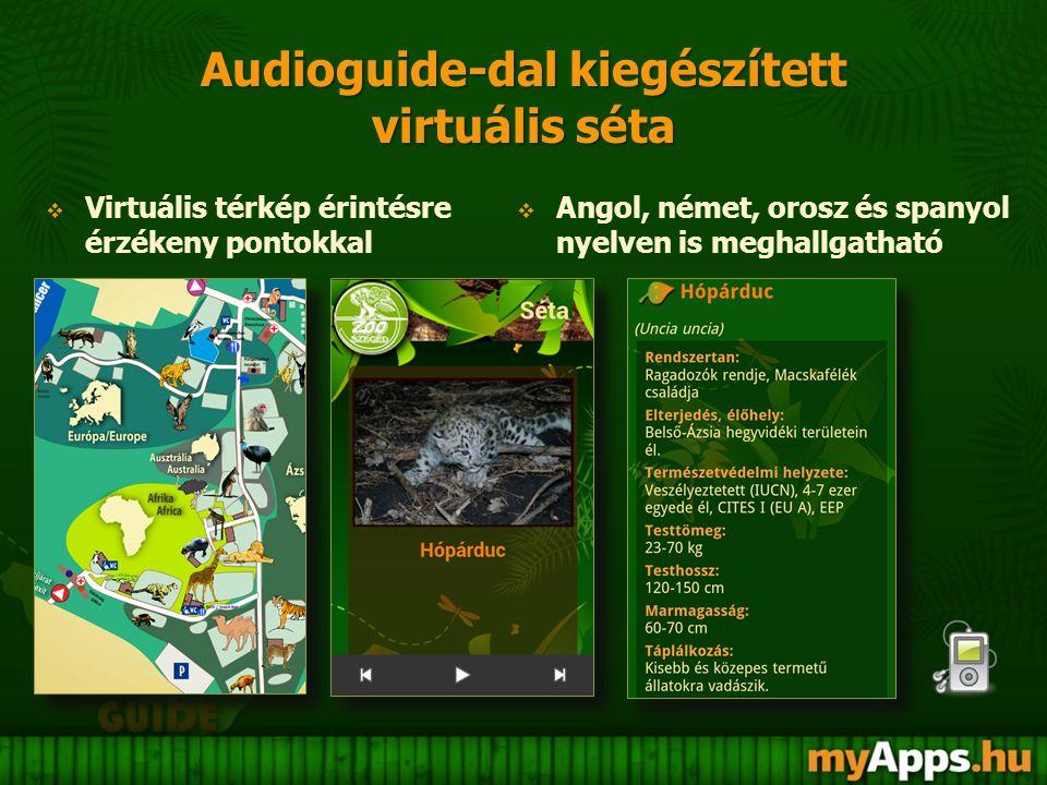 Audioguide-dal kiegészített virtuális séta  Angol, német, orosz és spanyol nyelven is meghallgatható  Virtuális térkép érintésre érzékeny pontokkal