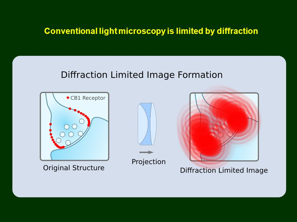 Conventional light microscopy is limited by diffraction