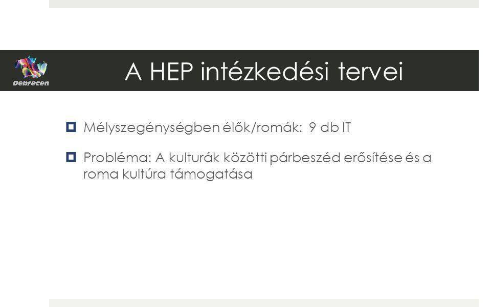 A HEP intézkedési tervei  Mélyszegénységben élők/romák: 9 db IT  Probléma: A kulturák közötti párbeszéd erősítése és a roma kultúra támogatása