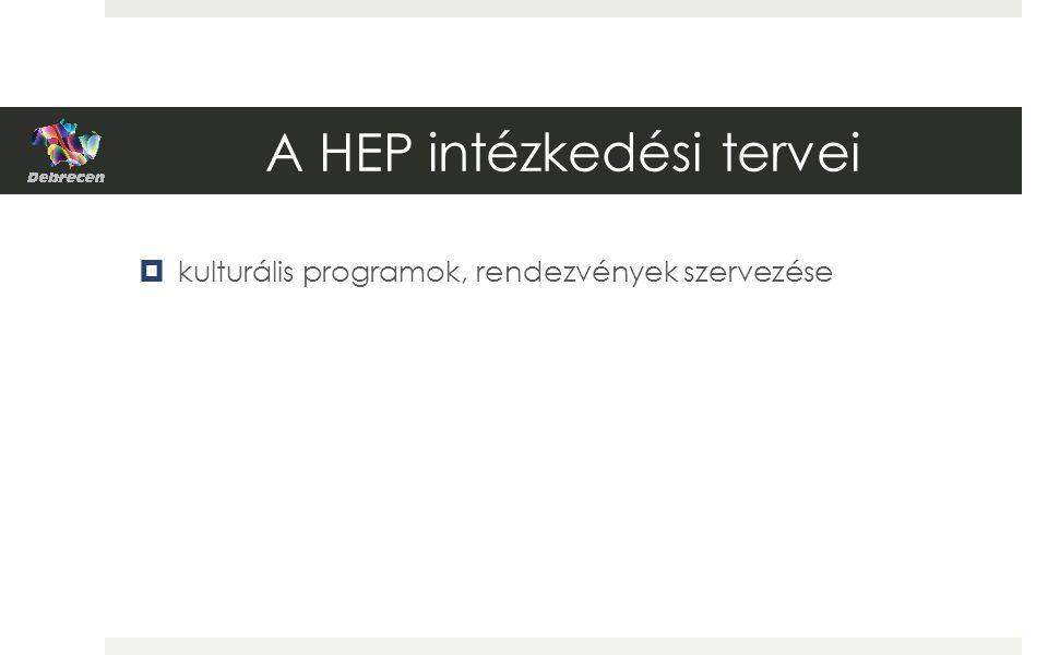 A HEP intézkedési tervei  kulturális programok, rendezvények szervezése