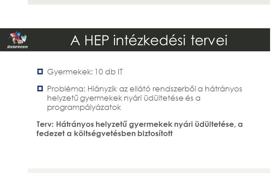 A HEP intézkedési tervei  Gyermekek: 10 db IT  Probléma: Hiányzik az ellátó rendszerből a hátrányos helyzetű gyermekek nyári üdültetése és a programpályázatok Terv: Hátrányos helyzetű gyermekek nyári üdültetése, a fedezet a költségvetésben biztosított