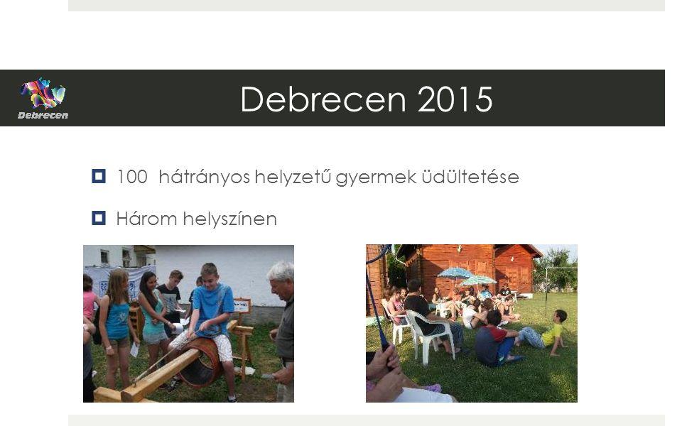 Debrecen 2015  100 hátrányos helyzetű gyermek üdültetése  Három helyszínen