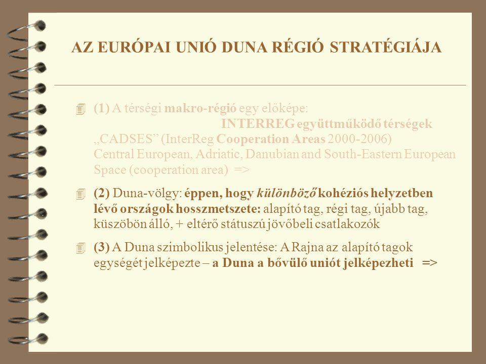 """4 (1) A térségi makro-régió egy előképe: INTERREG együttműködő térségek """"CADSES (InterReg Cooperation Areas 2000-2006) Central European, Adriatic, Danubian and South-Eastern European Space (cooperation area) => 4 (2) Duna-völgy: éppen, hogy különböző kohéziós helyzetben lévő országok hosszmetszete: alapító tag, régi tag, újabb tag, küszöbön álló, + eltérő státuszú jövőbeli csatlakozók 4 (3) A Duna szimbolikus jelentése: A Rajna az alapító tagok egységét jelképezte – a Duna a bővülő uniót jelképezheti => AZ EURÓPAI UNIÓ DUNA RÉGIÓ STRATÉGIÁJA"""