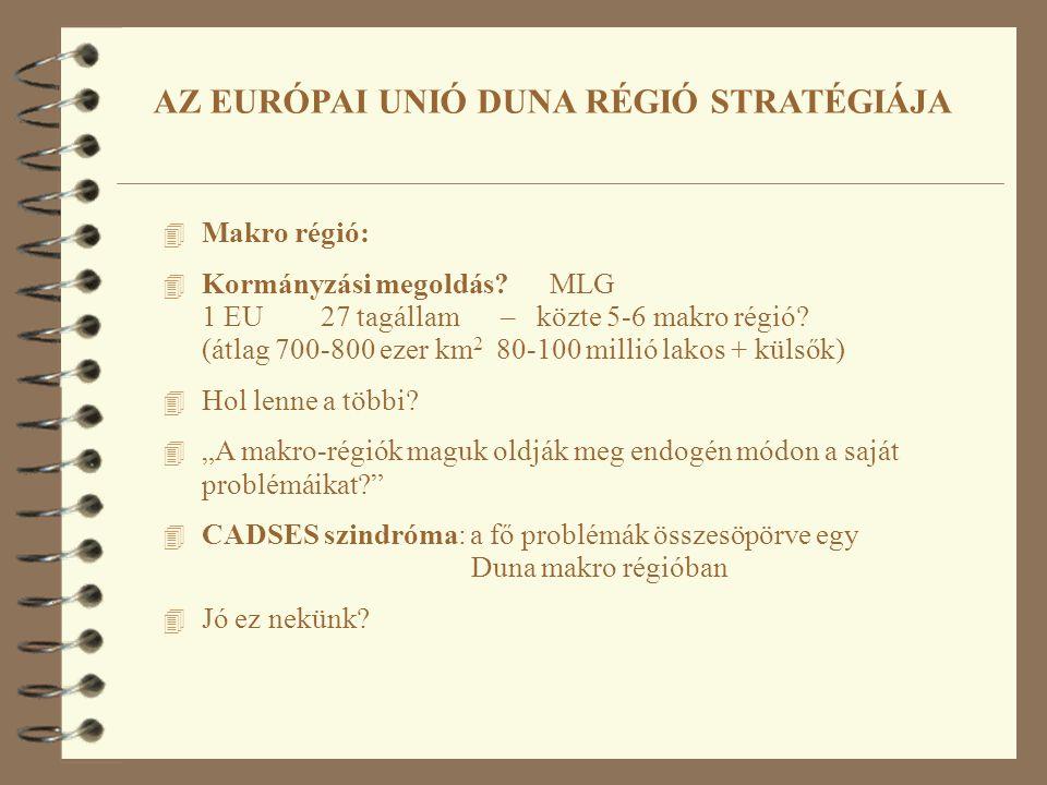 4 Makro régió: 4 Kormányzási megoldás. MLG 1 EU 27 tagállam – közte 5-6 makro régió.