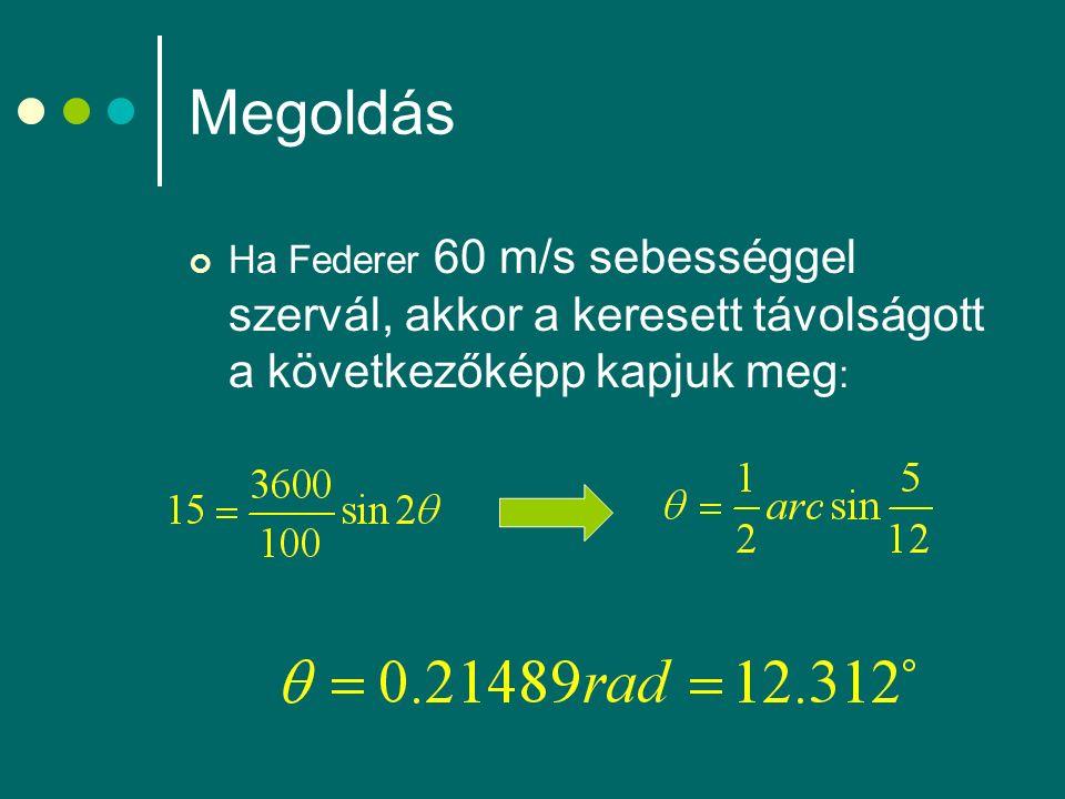 Megoldás Ha Federer 60 m/s sebességgel szervál, akkor a keresett távolságott a következőképp kapjuk meg :