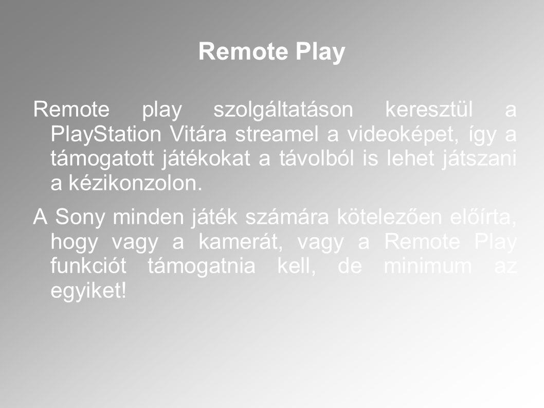 Remote play szolgáltatáson keresztül a PlayStation Vitára streamel a videoképet, így a támogatott játékokat a távolból is lehet játszani a kézikonzolo