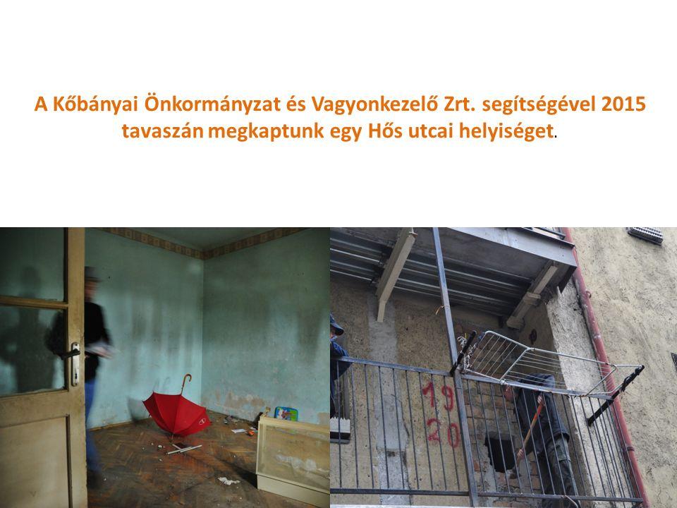 A Kőbányai Önkormányzat és Vagyonkezelő Zrt. segítségével 2015 tavaszán megkaptunk egy Hős utcai helyiséget.
