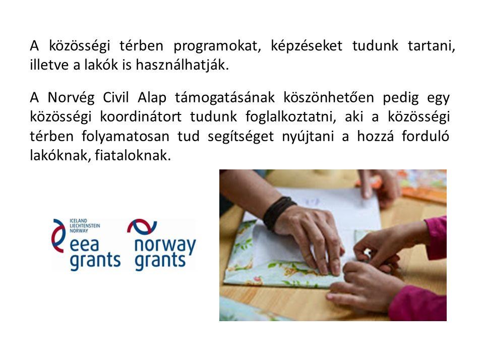 A közösségi térben programokat, képzéseket tudunk tartani, illetve a lakók is használhatják. A Norvég Civil Alap támogatásának köszönhetően pedig egy