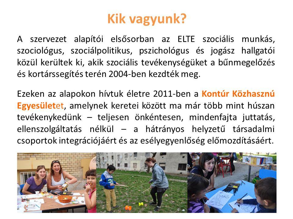 Kik vagyunk? A szervezet alapítói elsősorban az ELTE szociális munkás, szociológus, szociálpolitikus, pszichológus és jogász hallgatói közül kerültek