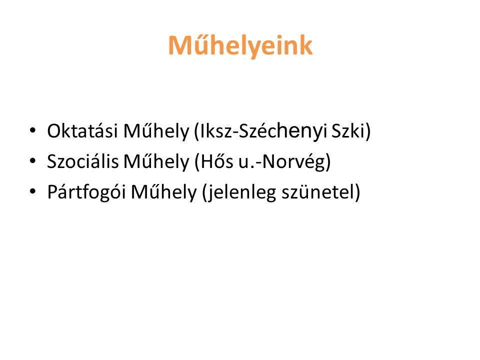 Oktatási Műhely (Iksz-Széc heny i Szki) Szociális Műhely (Hős u. -Norvég) Pártfogói Műhely (jelenleg szünetel) Műhelyeink