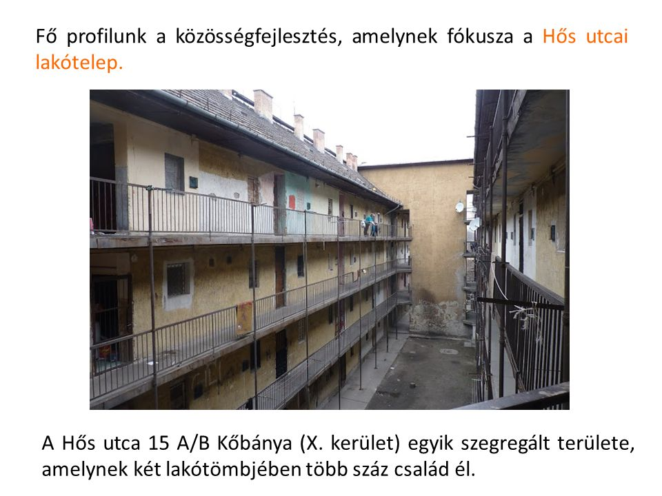 Fő profilunk a közösségfejlesztés, amelynek fókusza a Hős utcai lakótelep. A Hős utca 15 A/B Kőbánya (X. kerület) egyik szegregált területe, amelynek