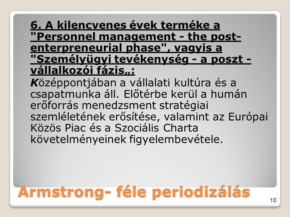 Armstrong- féle periodizálás 6. A kilencvenes évek terméke a