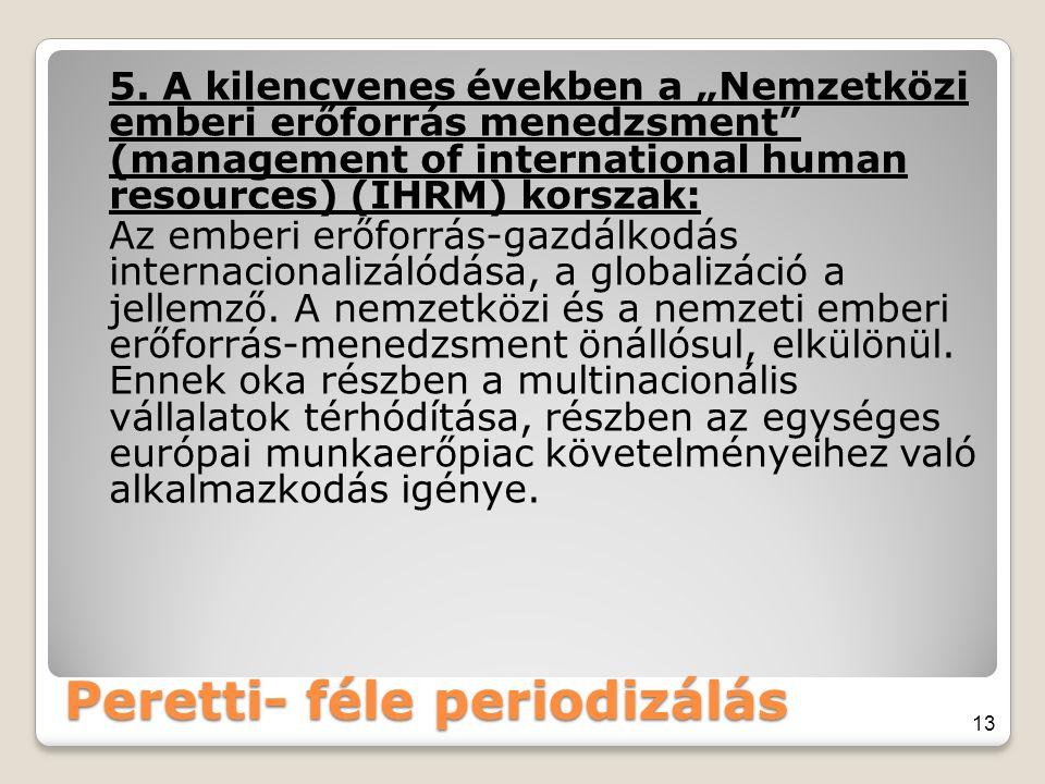 """Peretti- féle periodizálás 5. A kilencvenes években a """"Nemzetközi emberi erőforrás menedzsment"""" (management of international human resources) (IHRM) k"""