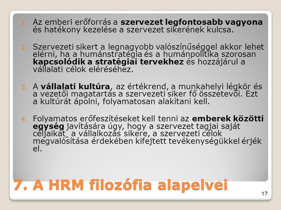 7. A HRM filozófia alapelvei 1. Az emberi erőforrás a szervezet legfontosabb vagyona és hatékony kezelése a szervezet sikerének kulcsa. 2. Szervezeti