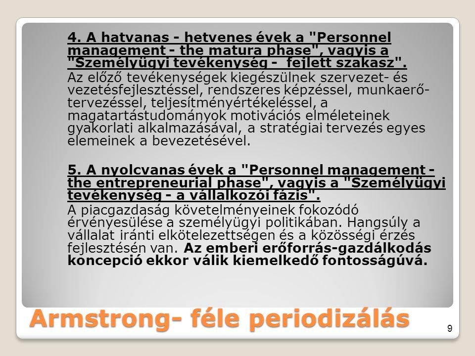 Armstrong- féle periodizálás 4. A hatvanas - hetvenes évek a