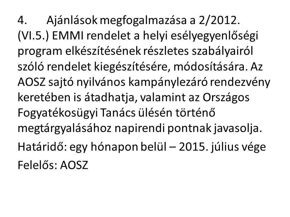 4.Ajánlások megfogalmazása a 2/2012.