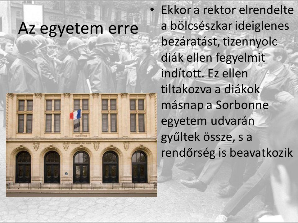 Az egyetem erre Ekkor a rektor elrendelte a bölcsészkar ideiglenes bezáratást, tizennyolc diák ellen fegyelmit indított.