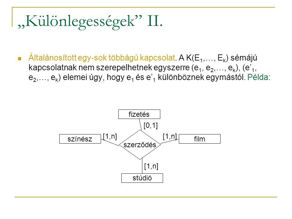 """""""Különlegességek"""" II. Általánosított egy-sok többágú kapcsolat. A K(E 1,…, E k ) sémájú kapcsolatnak nem szerepelhetnek egyszerre (e 1, e 2,…, e k ),"""