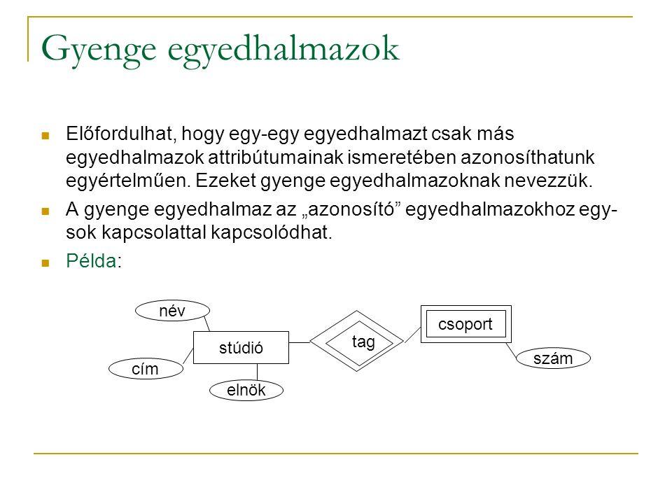 Gyenge egyedhalmazok Előfordulhat, hogy egy-egy egyedhalmazt csak más egyedhalmazok attribútumainak ismeretében azonosíthatunk egyértelműen. Ezeket gy