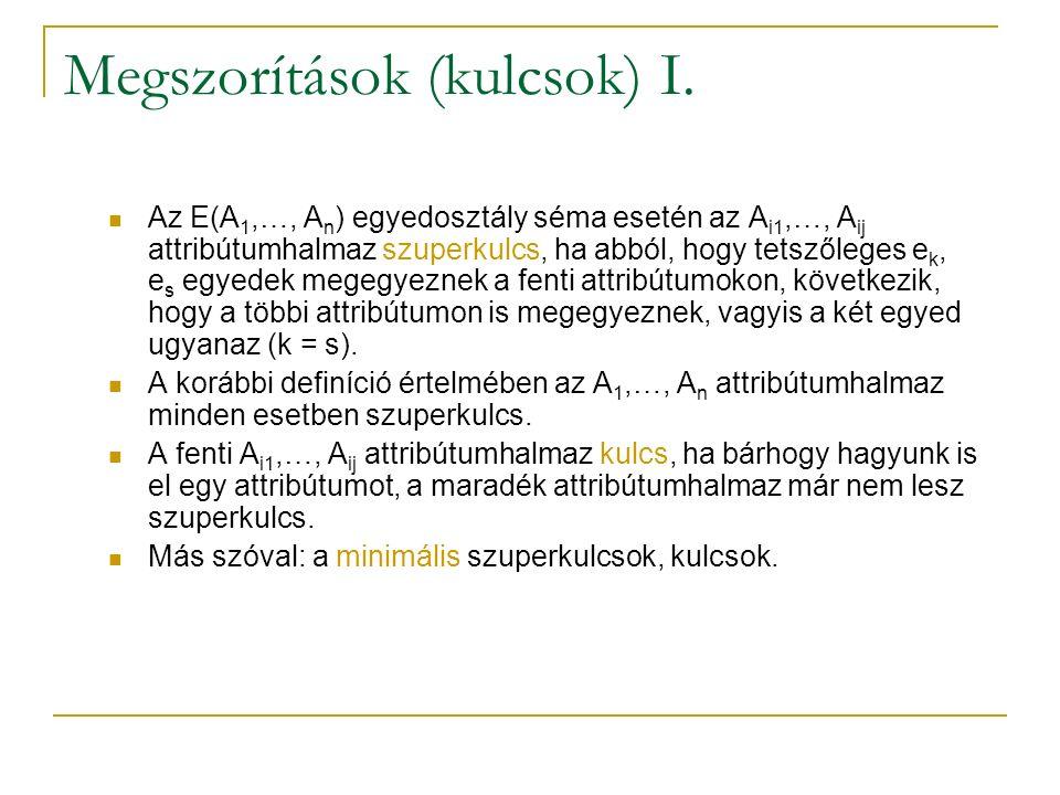 Megszorítások (kulcsok) I. Az E(A 1,…, A n ) egyedosztály séma esetén az A i1,…, A ij attribútumhalmaz szuperkulcs, ha abból, hogy tetszőleges e k, e