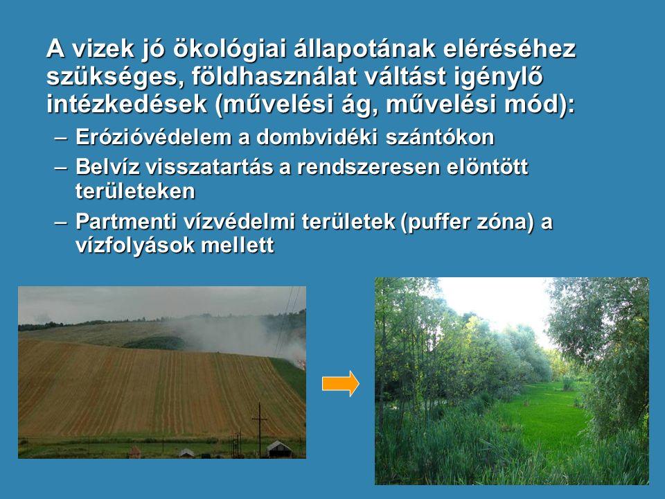A vizek jó ökológiai állapotának eléréséhez szükséges, földhasználat váltást igénylő intézkedések (művelési ág, művelési mód): –Erózióvédelem a dombvi