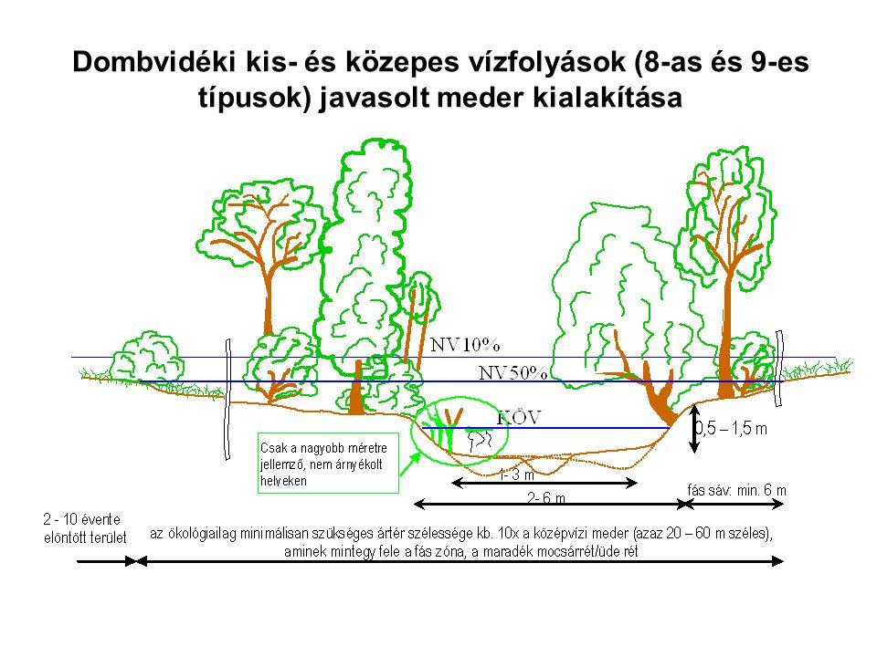 Dombvidéki kis- és közepes vízfolyások (8-as és 9-es típusok) javasolt meder kialakítása