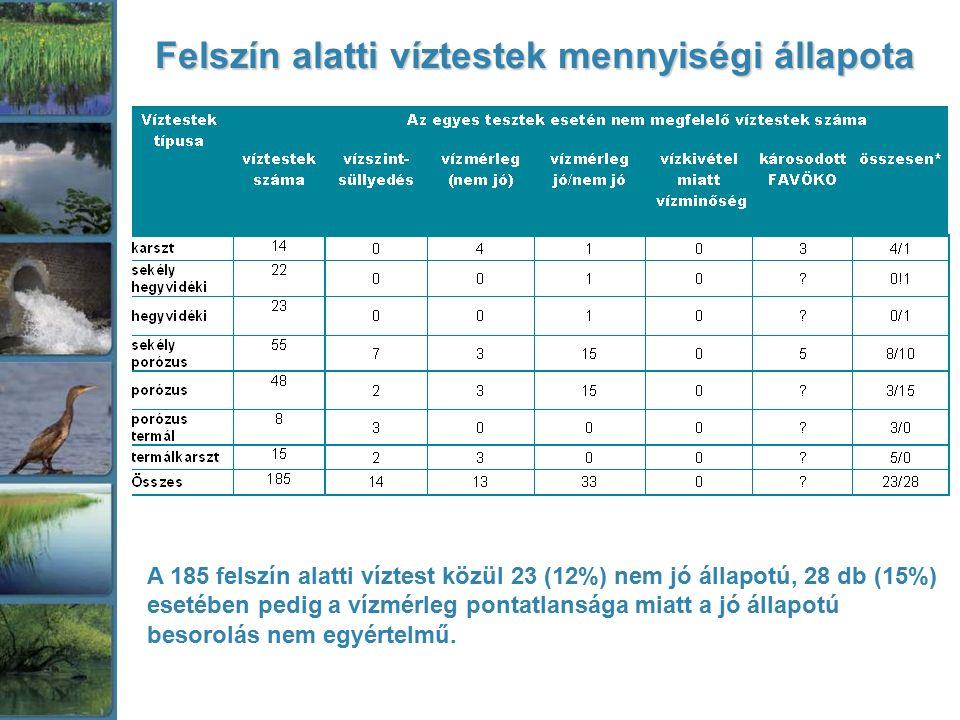 Felszín alatti víztestek mennyiségi állapota A 185 felszín alatti víztest közül 23 (12%) nem jó állapotú, 28 db (15%) esetében pedig a vízmérleg ponta