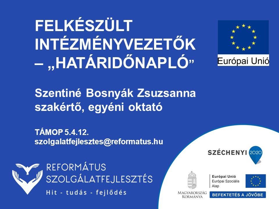 """FELKÉSZÜLT INTÉZMÉNYVEZETŐK – """"HATÁRIDŐNAPLÓ """" Szentiné Bosnyák Zsuzsanna szakértő, egyéni oktató TÁMOP 5.4.12. szolgalatfejlesztes@reformatus.hu"""