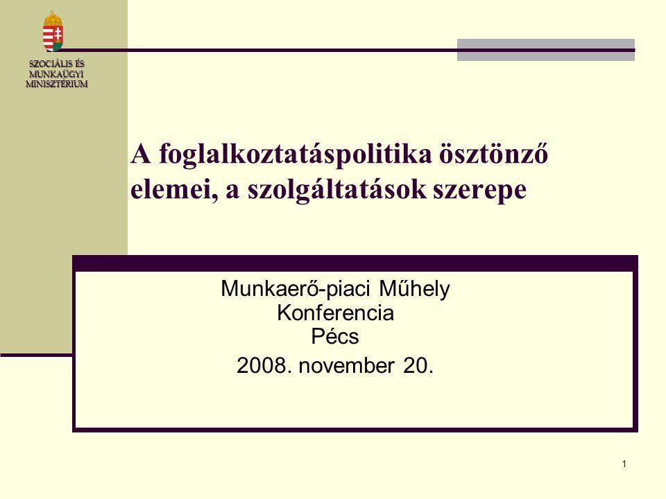 1 A foglalkoztatáspolitika ösztönző elemei, a szolgáltatások szerepe Munkaerő-piaci Műhely Konferencia Pécs 2008. november 20. SZOCIÁLIS ÉS MUNKAÜGYI