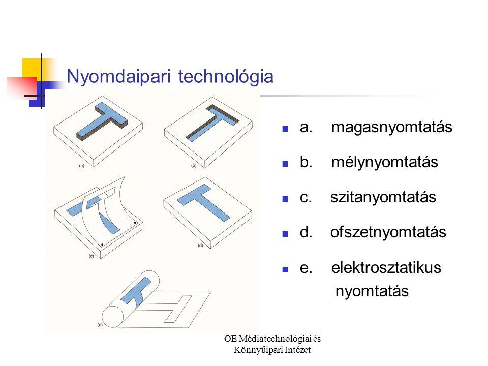 OE Médiatechnológiai és Könnyűipari Intézet Nyomdaipari technológia a. magasnyomtatás b. mélynyomtatás c.szitanyomtatás d.ofszetnyomtatás e. elektrosz