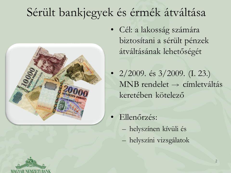 Sérült bankjegyek és érmék átváltása Cél: a lakosság számára biztosítani a sérült pénzek átváltásának lehetőségét 2/2009.