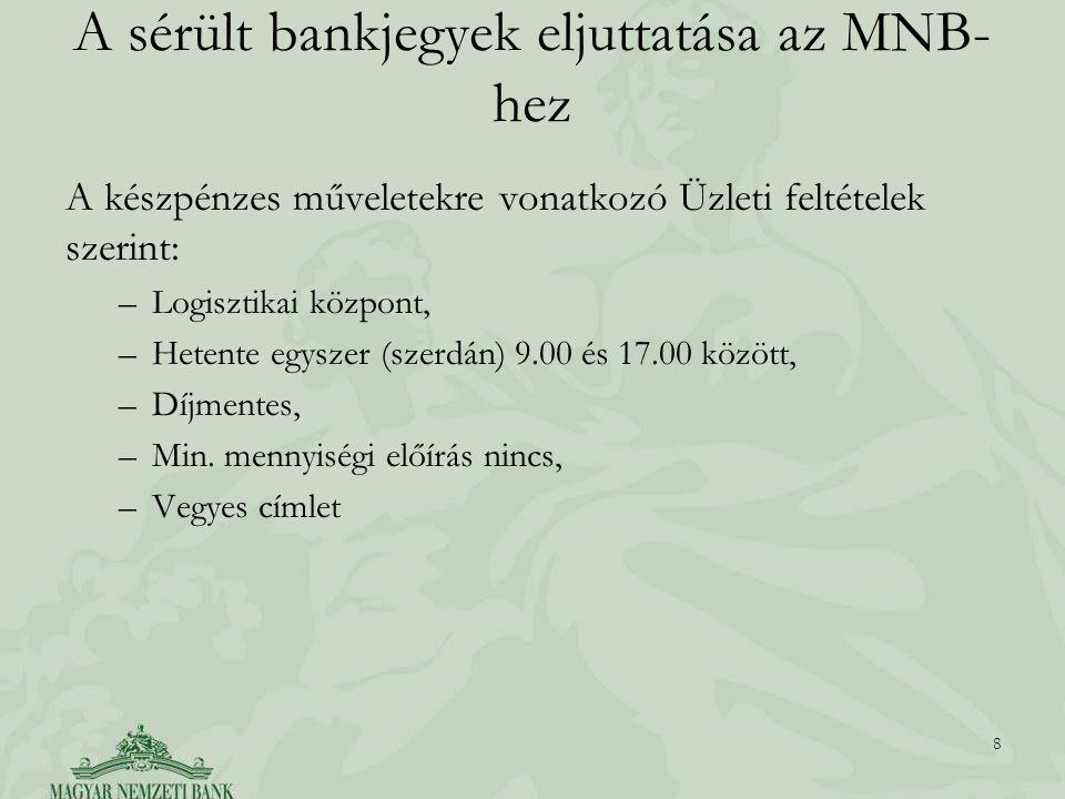 A sérült bankjegyek eljuttatása az MNB- hez A készpénzes műveletekre vonatkozó Üzleti feltételek szerint: –Logisztikai központ, –Hetente egyszer (szerdán) 9.00 és 17.00 között, –Díjmentes, –Min.