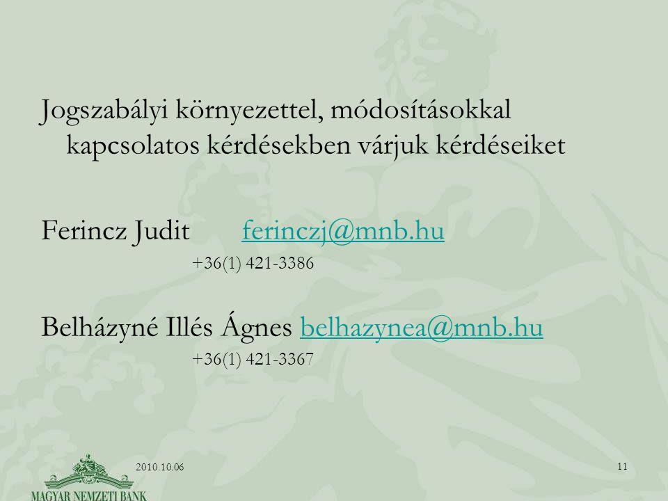 Jogszabályi környezettel, módosításokkal kapcsolatos kérdésekben várjuk kérdéseiket Ferincz Judit ferinczj@mnb.huferinczj@mnb.hu +36(1) 421-3386 Belházyné Illés Ágnes belhazynea@mnb.hubelhazynea@mnb.hu +36(1) 421-3367 11 2010.10.06