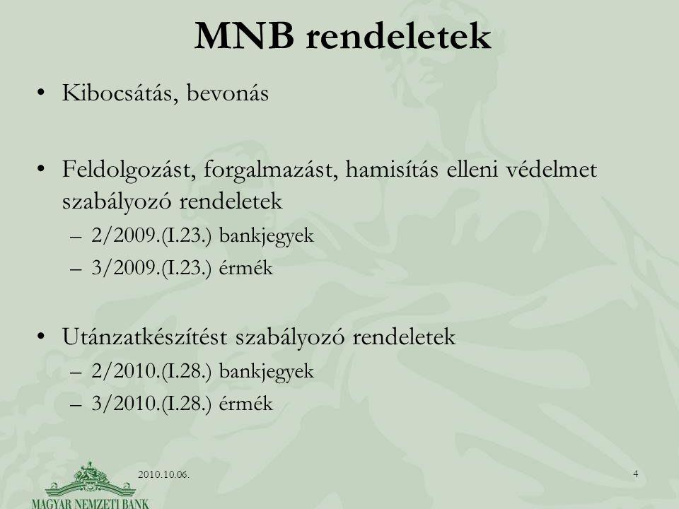 MNB rendeletek Kibocsátás, bevonás Feldolgozást, forgalmazást, hamisítás elleni védelmet szabályozó rendeletek –2/2009.(I.23.) bankjegyek –3/2009.(I.23.) érmék Utánzatkészítést szabályozó rendeletek –2/2010.(I.28.) bankjegyek –3/2010.(I.28.) érmék 4 2010.10.06.