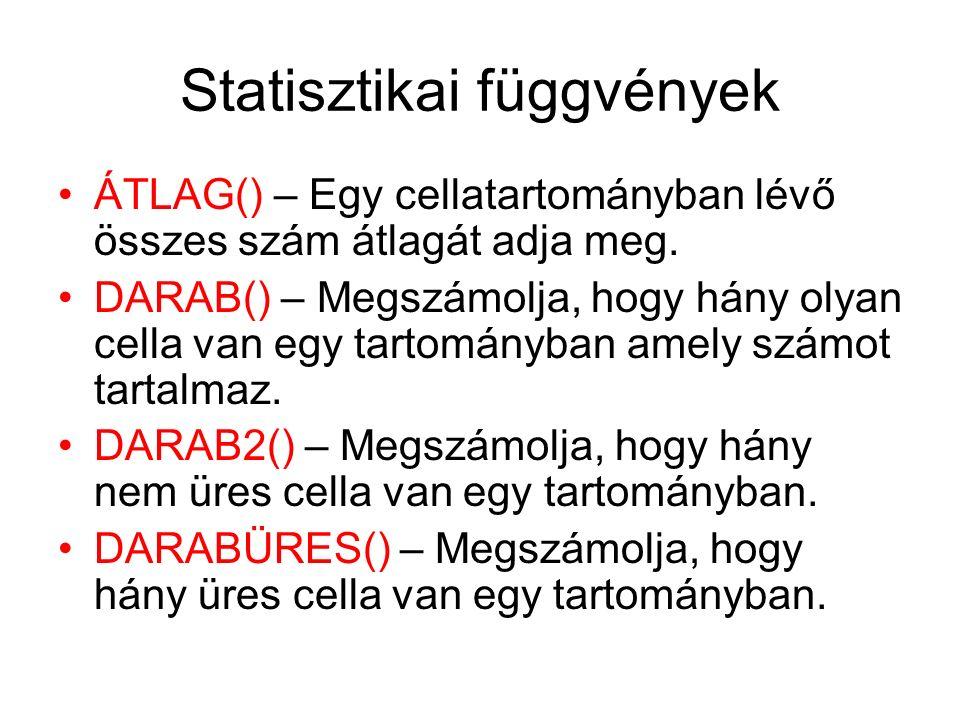 Statisztikai függvények ÁTLAG() – Egy cellatartományban lévő összes szám átlagát adja meg. DARAB() – Megszámolja, hogy hány olyan cella van egy tartom