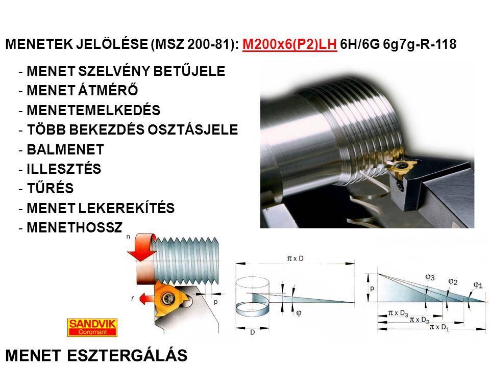 MENET ESZTERGÁLÁS MENETEK JELÖLÉSE (MSZ 200-81): M200x6(P2)LH 6H/6G 6g7g-R-118 - MENET SZELVÉNY BETŰJELE - MENET ÁTMÉRŐ - MENETEMELKEDÉS - TÖBB BEKEZD
