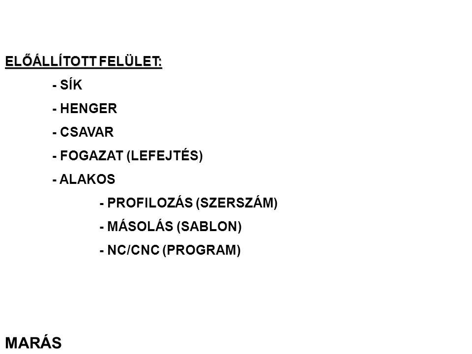 MARÁS ELŐÁLLÍTOTT FELÜLET: - SÍK - HENGER - CSAVAR - FOGAZAT (LEFEJTÉS) - ALAKOS - PROFILOZÁS (SZERSZÁM) - MÁSOLÁS (SABLON) - NC/CNC (PROGRAM)