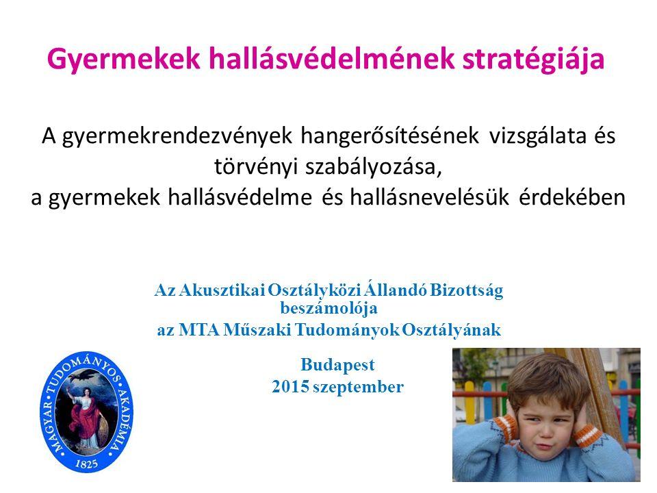 A gyermekrendezvények hangerősítésének vizsgálata és törvényi szabályozása, a gyermekek hallásvédelme és hallásnevelésük érdekében Az Akusztikai Osztá