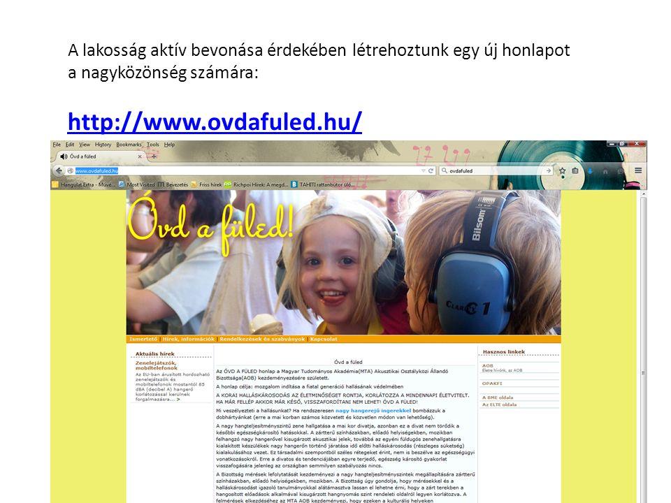 A lakosság aktív bevonása érdekében létrehoztunk egy új honlapot a nagyközönség számára: http://www.ovdafuled.hu/