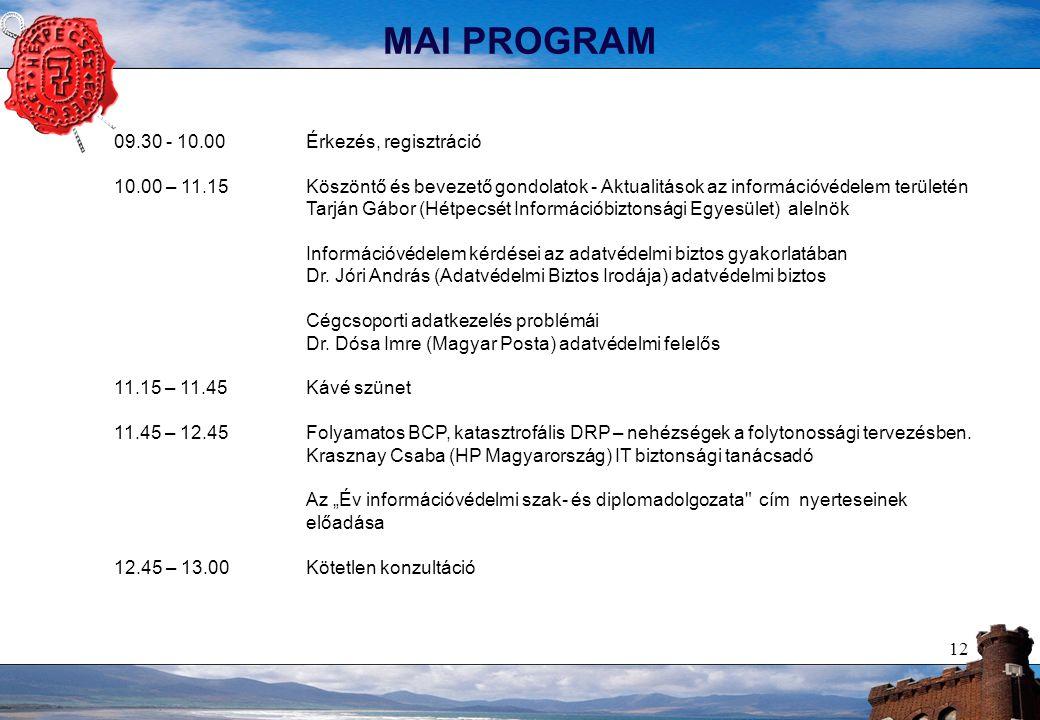 12 MAI PROGRAM 09.30 - 10.00 Érkezés, regisztráció 10.00 – 11.15Köszöntő és bevezető gondolatok - Aktualitások az információvédelem területén Tarján Gábor (Hétpecsét Információbiztonsági Egyesület) alelnök Információvédelem kérdései az adatvédelmi biztos gyakorlatában Dr.