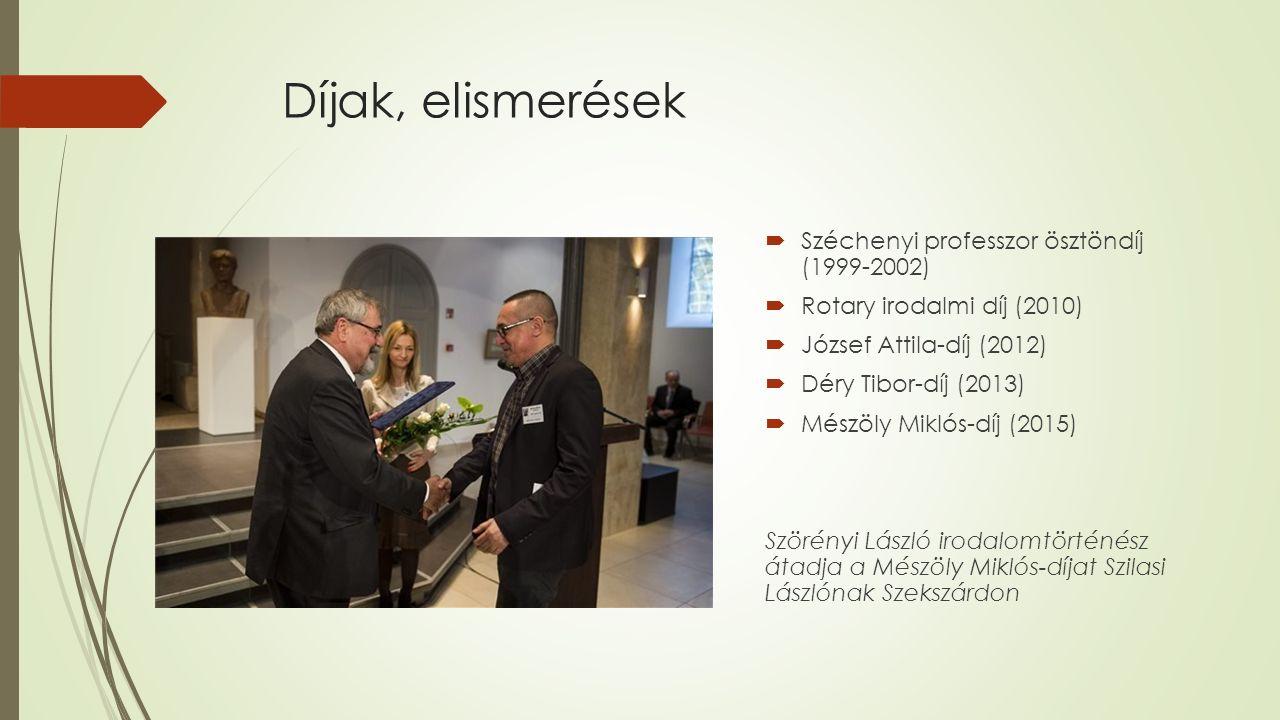 Díjak, elismerések  Széchenyi professzor ösztöndíj (1999-2002)  Rotary irodalmi díj (2010)  József Attila-díj (2012)  Déry Tibor-díj (2013)  Mész