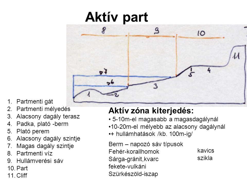 Aktív part 1.Partmenti gát 2.Partmenti mélyedés 3.Alacsony dagály terasz 4.Padka, plató -berm 5.Plató perem 6.Alacsony dagály szintje 7.Magas dagály szintje 8.Partmenti víz 9.Hullámverési sáv 10.Part 11.Cliff Aktív zóna kiterjedés: 5-10m-el magasabb a magasdagálynál 10-20m-el mélyebb az alacsony dagálynál + hullámhatások /kb.