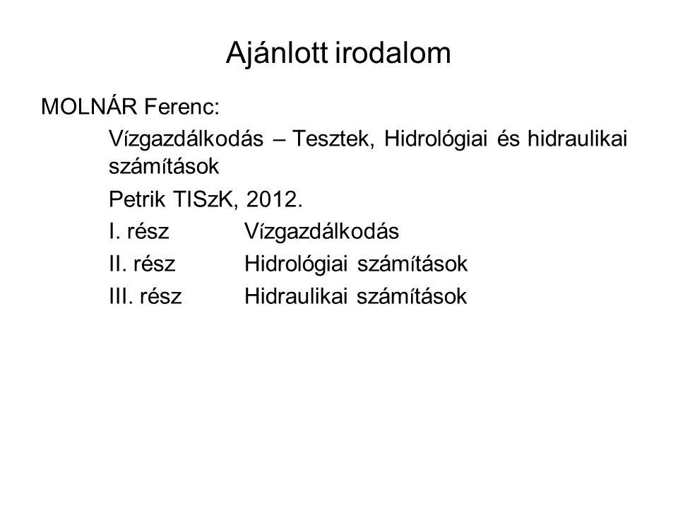 Ajánlott irodalom MOLNÁR Ferenc: V í zgazdálkodás – Tesztek, Hidrológiai és hidraulikai szám í tások Petrik TISzK, 2012. I. részV í zgazdálkodás II. r