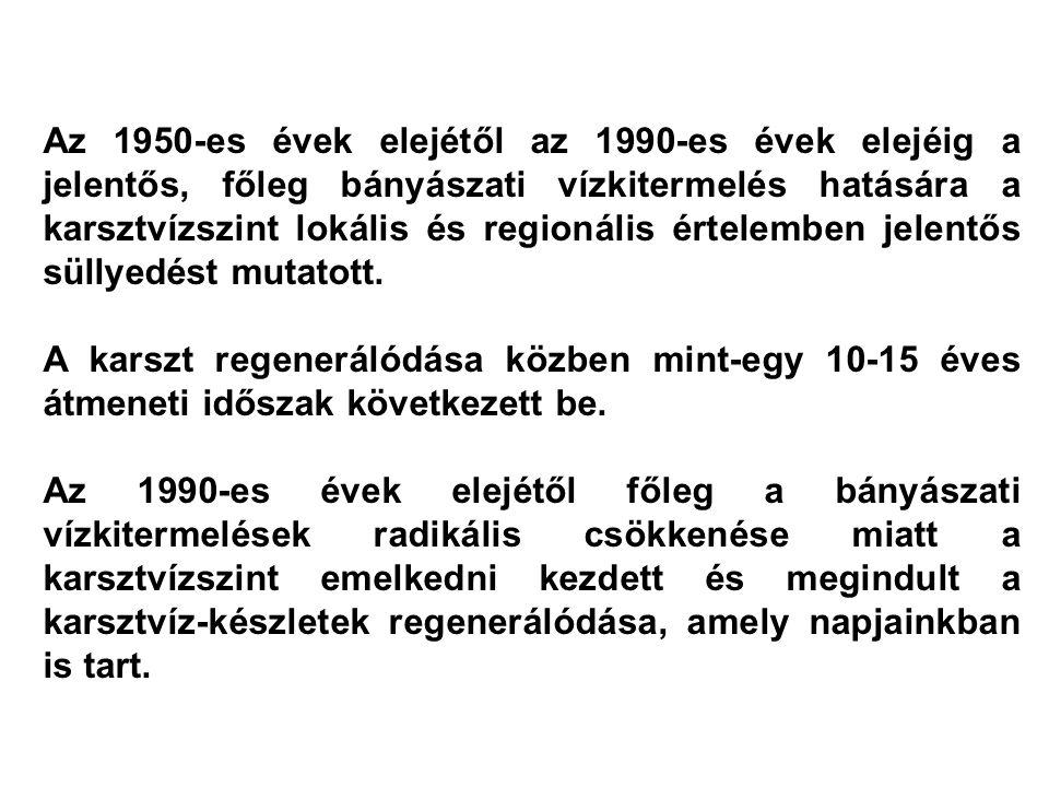 Csepregi András Úr előadásában bemutatott karsztvíz mérlegelemek idősorából is kitűnik, hogy a Dunántúli-középhegység karsztvíz készletének mennyiségi állapota a meghozott korlátozó intézkedések hatására 1991-től már csak a csapadék (beszivárgás) mennyiségétől függ.